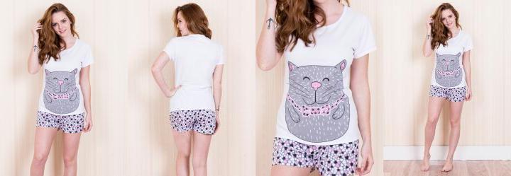 Pijama com Manga Silk de Gato Branco Laibel