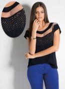 Blusa Preta com Faixa Transparente no Decote