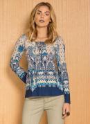 Blusa com Amarração no Decote Cashmere Azul