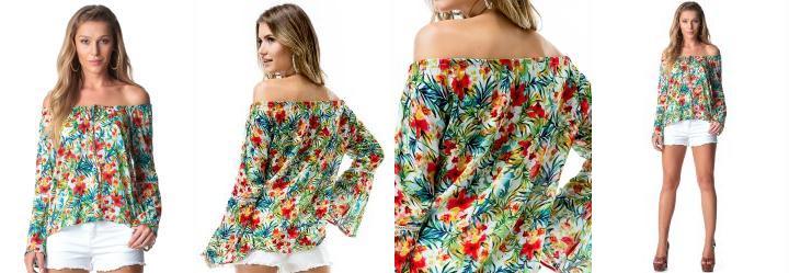Blusa de Viscose Floral Doce Trama