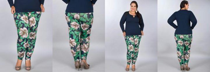 Cal�a Legging Floral Plus Size Cobertura