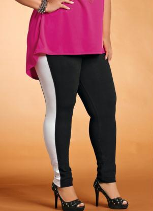Cal�a Legging Plus Size (Preta e Branca)