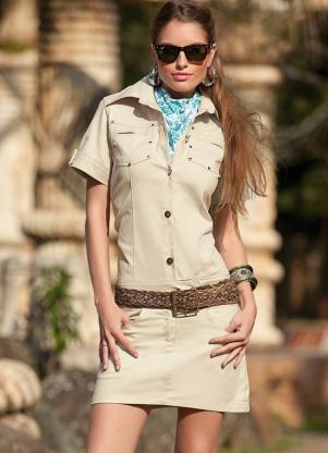 Mini Vestido (Bege) em Sarja com Botões