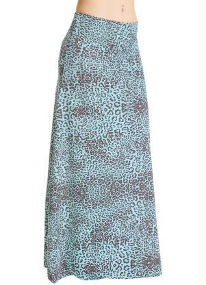 Saia Longa com Estampa de Onça (Azul)