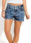 Short Jeans Azul Claro com Barra Desfiada