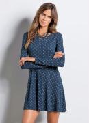 Vestido Evas� Azul com Estampa de Cora��es