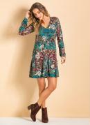 Vestido Evas� com Bot�o Frontal Mix Floral