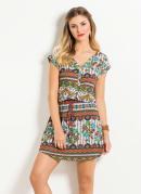 Vestido Quintess �tnico e Floral Acinturado