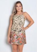 Vestido Alça com Vazado nas Costas Mix Estampa