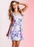 Vestido Detalhe com Renda Estampa Floral