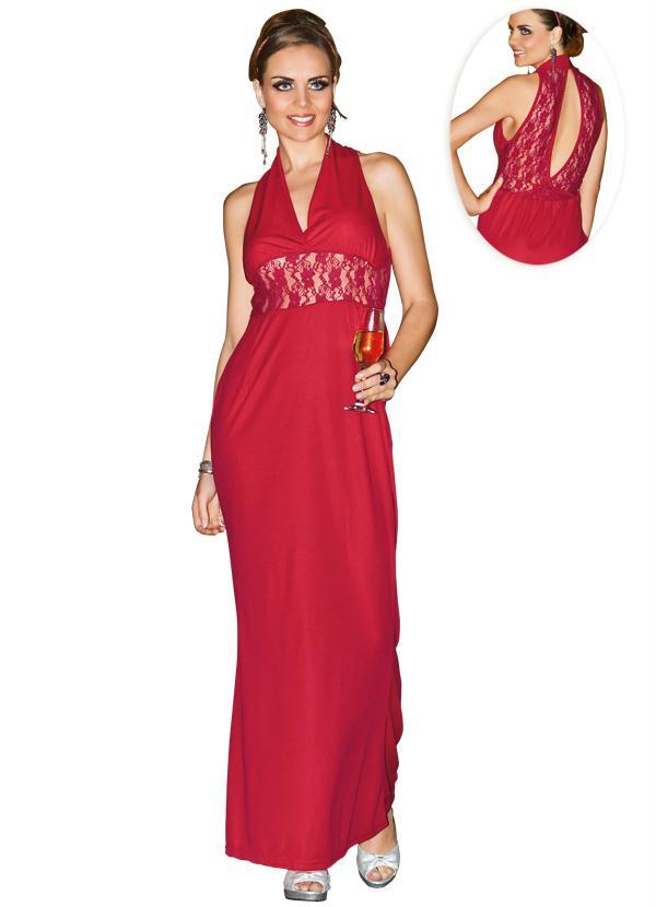 Vestido Longo com Renda (Vermelho)