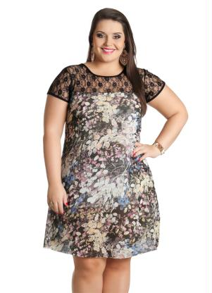 Vestido Plus Size (Estampa Folhagens)