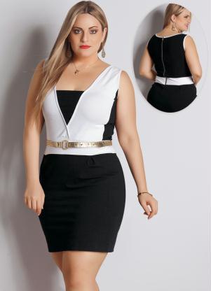 Vestido (Preto e Branco) Plus Size