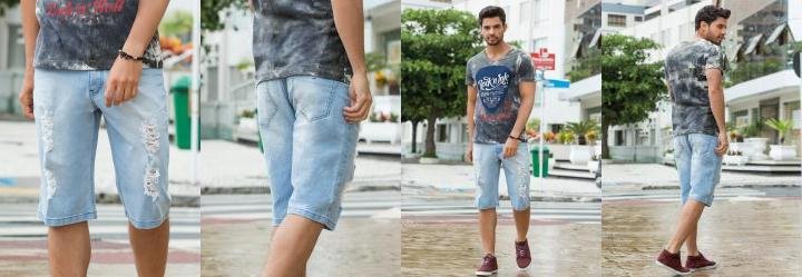 Bermuda Masculina Destroyed Jeans Claro