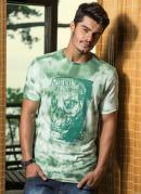 Camiseta Estampa Frontal e Decote Redondo Verde