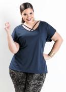 Blusa com Tiras Marinho Plus Size