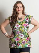 Blusa Manga Curta Tropical Plus Size