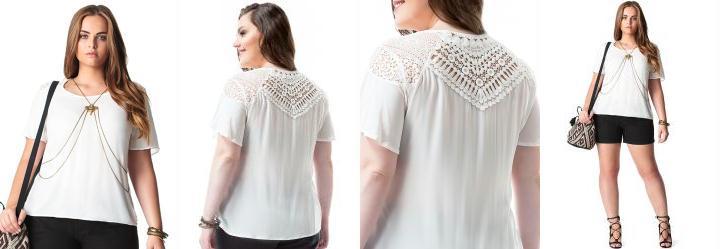 Blusa Plus Size Off White Lisamour