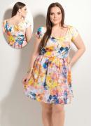 Vestido Evas� Abstrato Plus Size