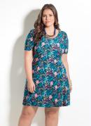 Vestido Quintess Estampa de Folhagens Plus Size