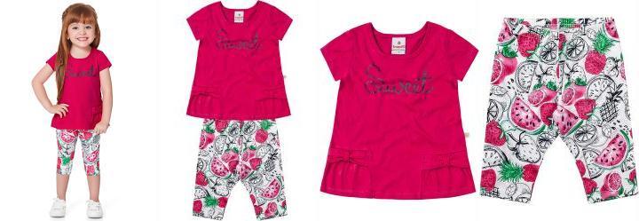 Conjunto Infantil Menina Brandili Rosa