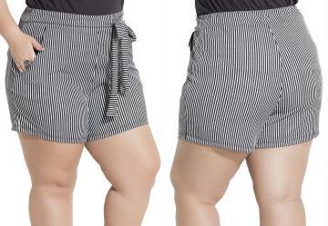 92785c4abb 0.5903177857398987 Shorts Listrado com Bolsos Plus Size Marguerite. Lista de  Desejos